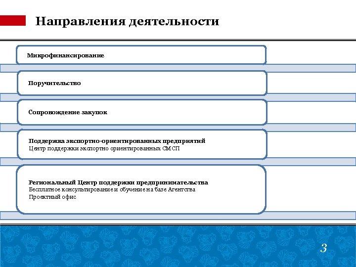 Направления деятельности Микрофинансирование Поручительство Сопровождение закупок Поддержка экспортно-ориентированных предприятий Центр поддержки экспортно ориентированных СМСП