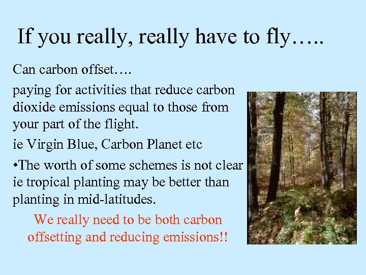If you really, really have to fly…. . Can carbon offset…. paying for activities