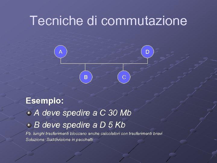 Tecniche di commutazione A D B C Esempio: A deve spedire a C 30
