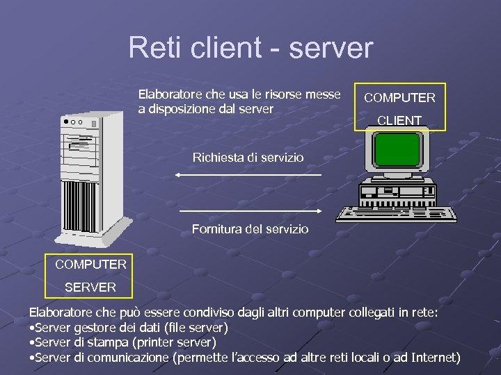 Reti client - server Elaboratore che usa le risorse messe a disposizione dal server