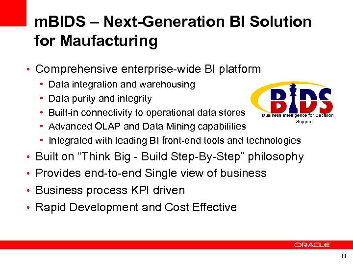 m. BIDS – Next-Generation BI Solution for Maufacturing • Comprehensive enterprise-wide BI platform •