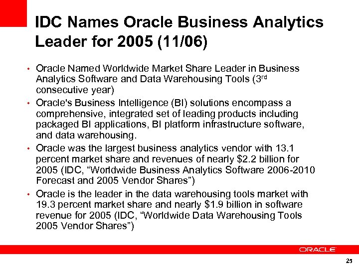 IDC Names Oracle Business Analytics Leader for 2005 (11/06) • Oracle Named Worldwide Market