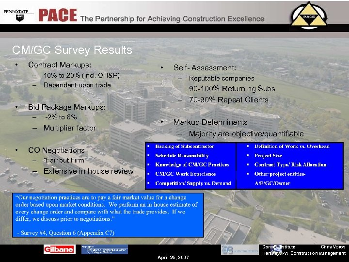 CM/GC Survey Results • Contract Markups: – 10% to 20% (incl. OH&P) – Dependent