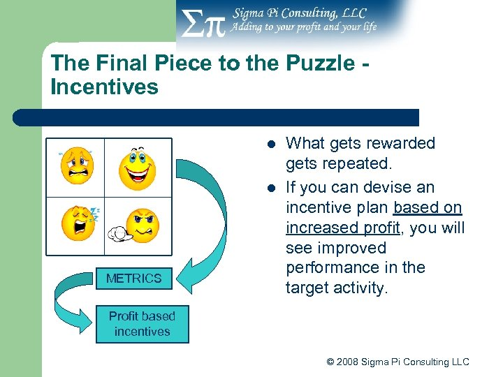 The Final Piece to the Puzzle Incentives l l METRICS What gets rewarded gets