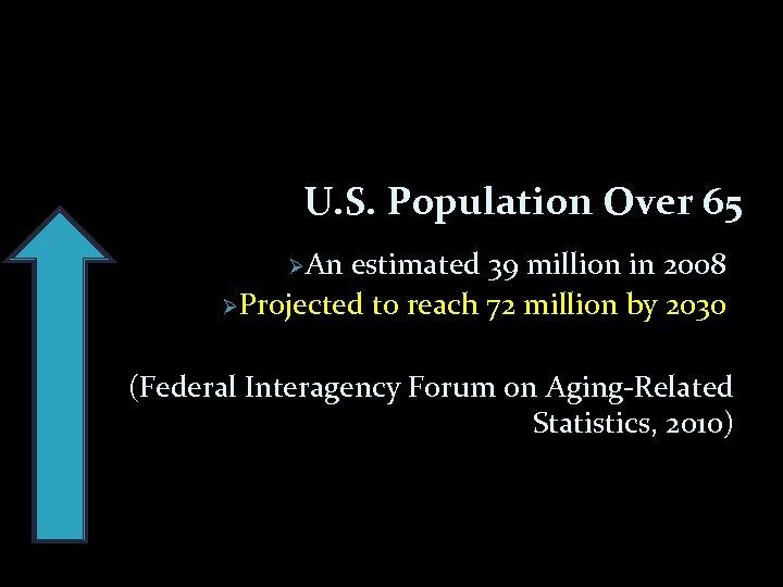 U. S. Population Over 65 ØAn estimated 39 million in 2008 ØProjected to reach