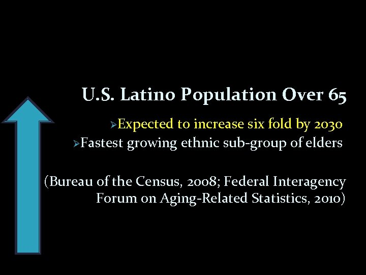 U. S. Latino Population Over 65 ØExpected to increase six fold by 2030 ØFastest