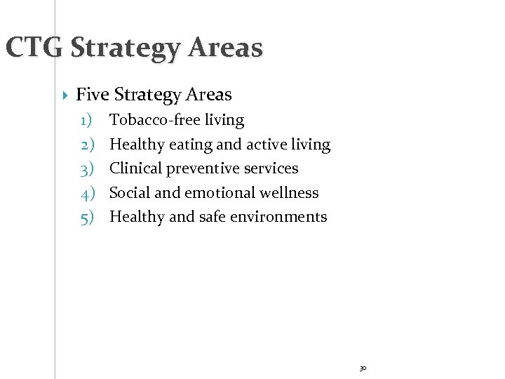 CTG Strategy Areas Five Strategy Areas 1) 2) 3) 4) 5) Tobacco-free living Healthy