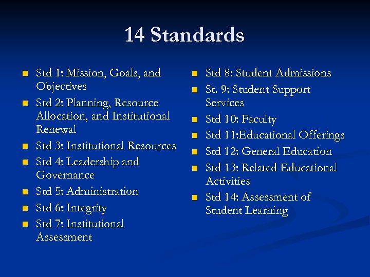 14 Standards n n n n Std 1: Mission, Goals, and Objectives Std 2: