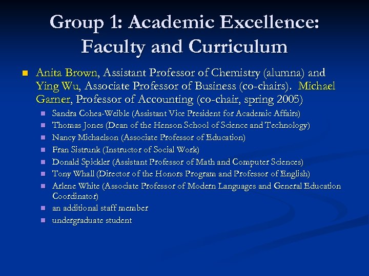 Group 1: Academic Excellence: Faculty and Curriculum n Anita Brown, Assistant Professor of Chemistry
