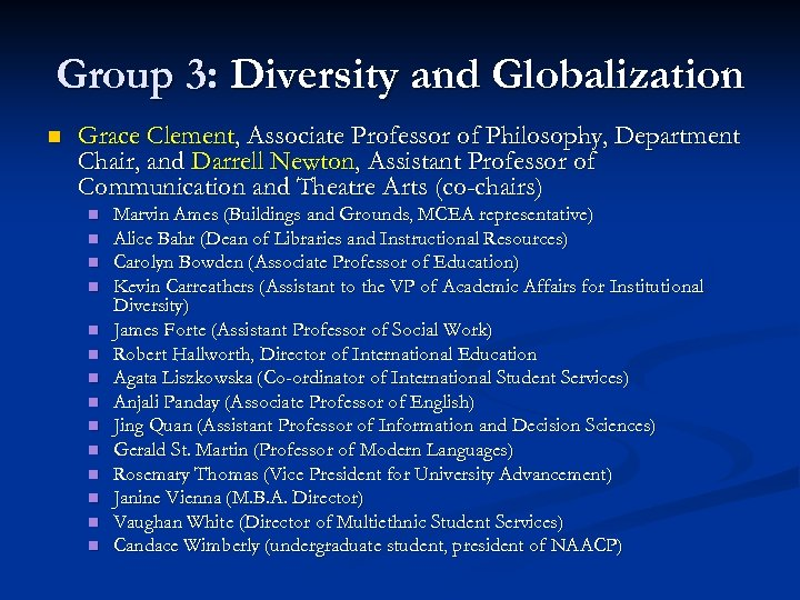 Group 3: Diversity and Globalization n Grace Clement, Associate Professor of Philosophy, Department Chair,