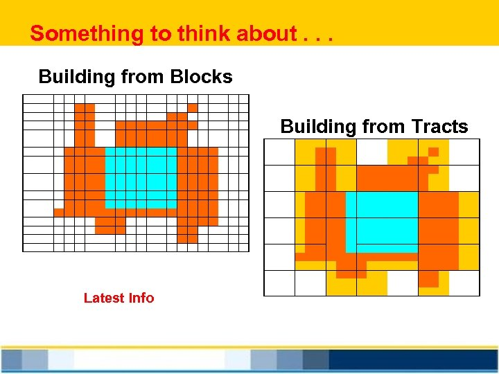 Something to think about. . . Building from Blocks Building from Tracts Latest Info