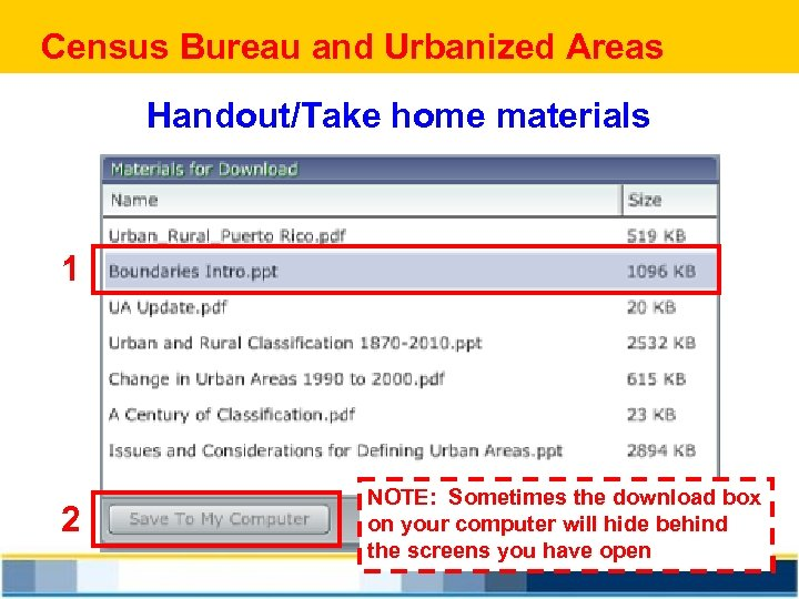 Census Bureau and Urbanized Areas Handout/Take home materials 1 2 NOTE: Sometimes the download