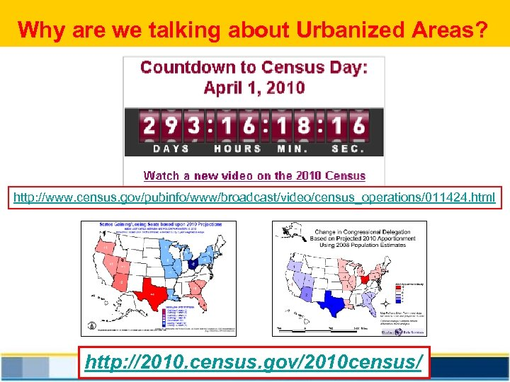 Why are we talking about Urbanized Areas? http: //www. census. gov/pubinfo/www/broadcast/video/census_operations/011424. html http: //2010.
