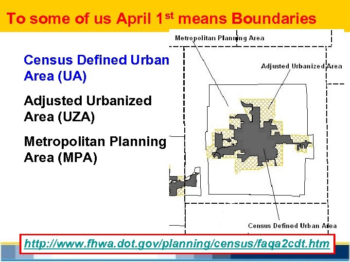 To some of us April 1 st means Boundaries Census Defined Urban Area (UA)