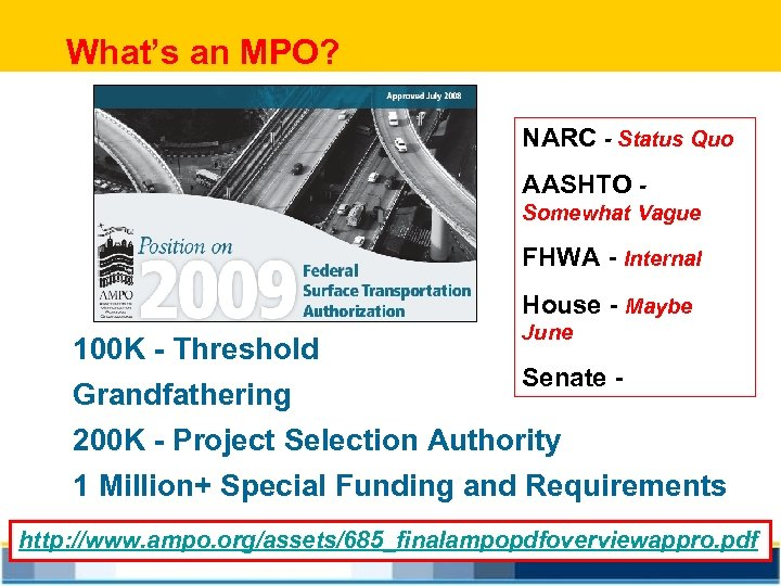 What's an MPO? NARC - Status Quo AASHTO Somewhat Vague FHWA - Internal House