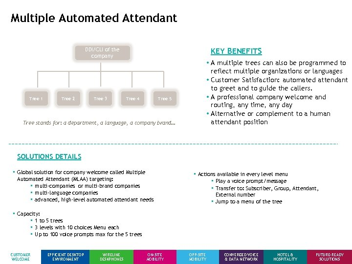 Multiple Automated Attendant DDI/CLI of the company Tree 1 Tree 2 Tree 3 KEY