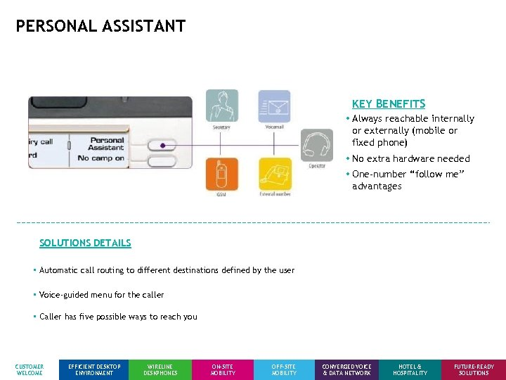 PERSONAL ASSISTANT KEY BENEFITS • Always reachable internally or externally (mobile or fixed phone)