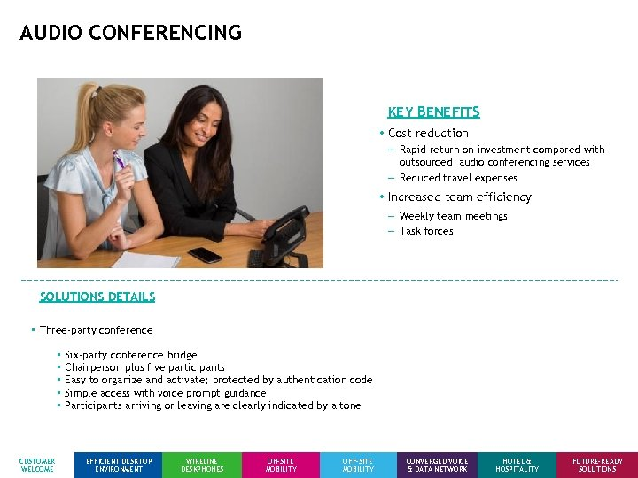 AUDIO CONFERENCING KEY BENEFITS • Cost reduction − Rapid return on investment compared with