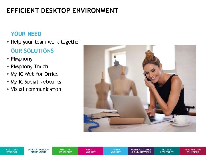 EFFICIENT DESKTOP ENVIRONMENT YOUR NEED • Help your team work together OUR SOLUTIONS •