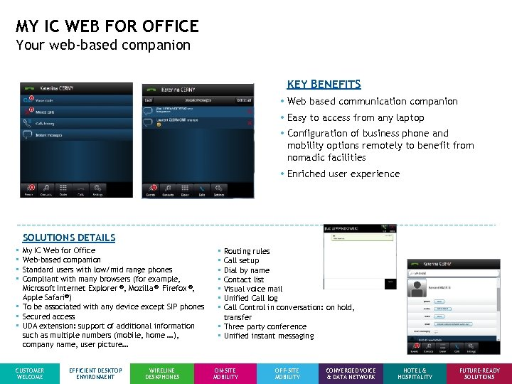 MY IC WEB FOR OFFICE Your web-based companion KEY BENEFITS • Web based communication