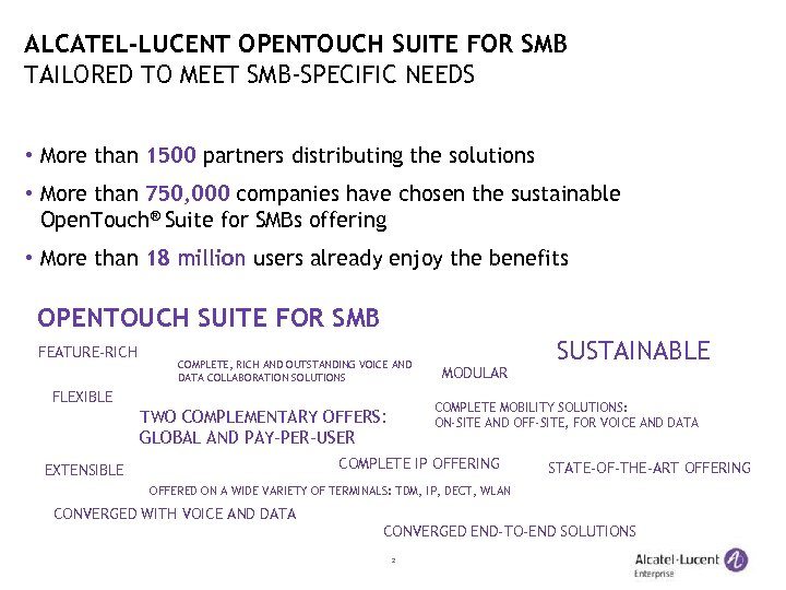 ALCATEL-LUCENT OPENTOUCH SUITE FOR SMB TAILORED TO MEET SMB-SPECIFIC NEEDS • More than 1500