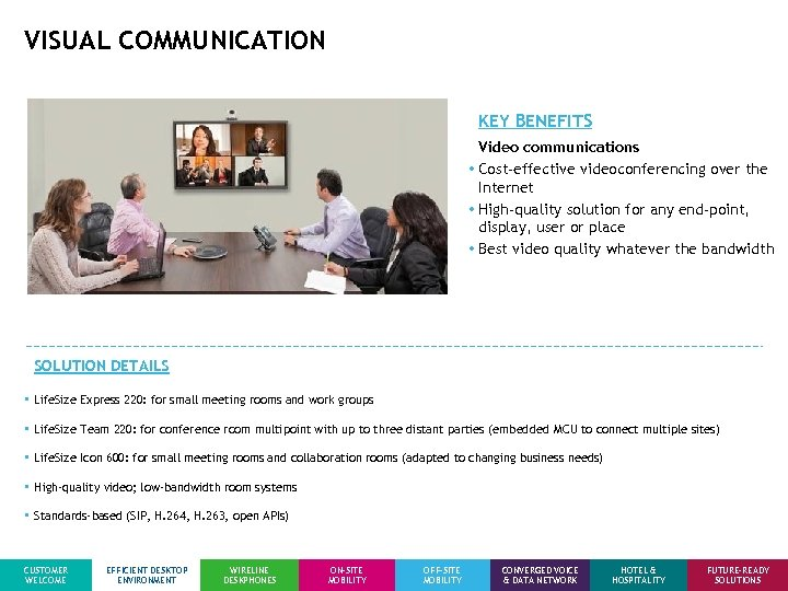 VISUAL COMMUNICATION KEY BENEFITS Video communications • Cost-effective videoconferencing over the Internet • High-quality