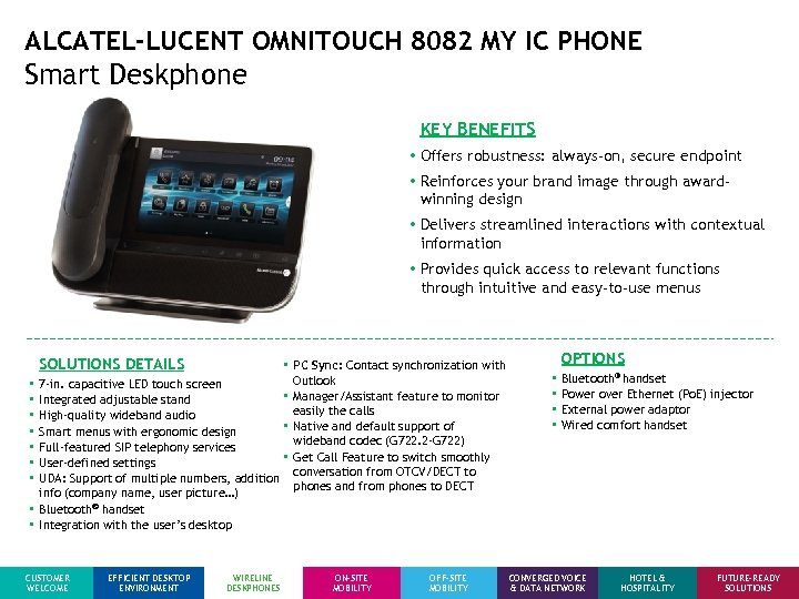 ALCATEL-LUCENT OMNITOUCH 8082 MY IC PHONE Smart Deskphone KEY BENEFITS • Offers robustness: always-on,