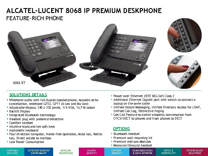 ALCATEL-LUCENT 8068 IP PREMIUM DESKPHONE FEATURE-RICH PHONE 8068 BT SOLUTIONS DETAILS • Wideband audio