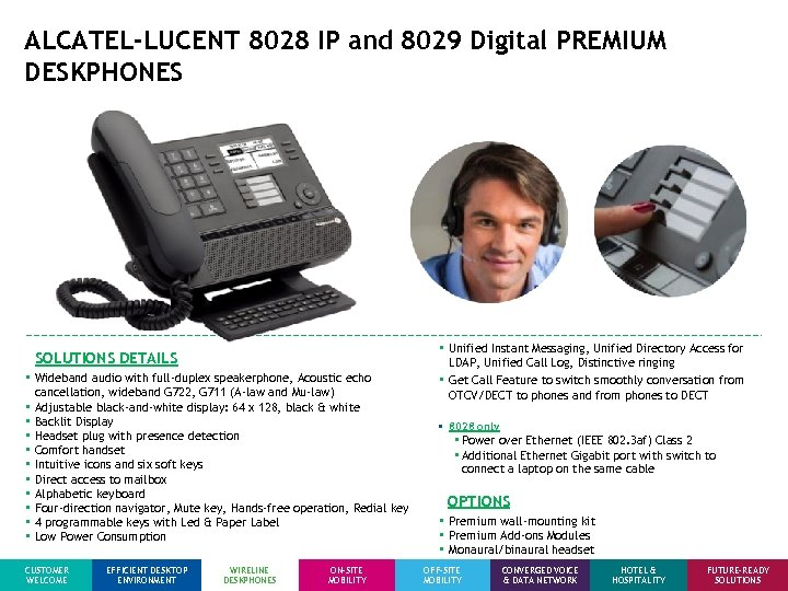 ALCATEL-LUCENT 8028 IP and 8029 Digital PREMIUM DESKPHONES SOLUTIONS DETAILS • Wideband audio with