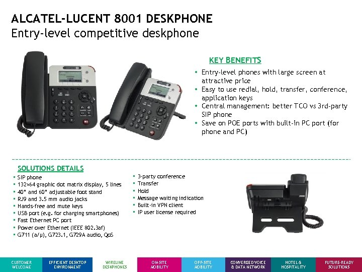 ALCATEL-LUCENT 8001 DESKPHONE Entry-level competitive deskphone KEY BENEFITS • Entry-level phones with large screen