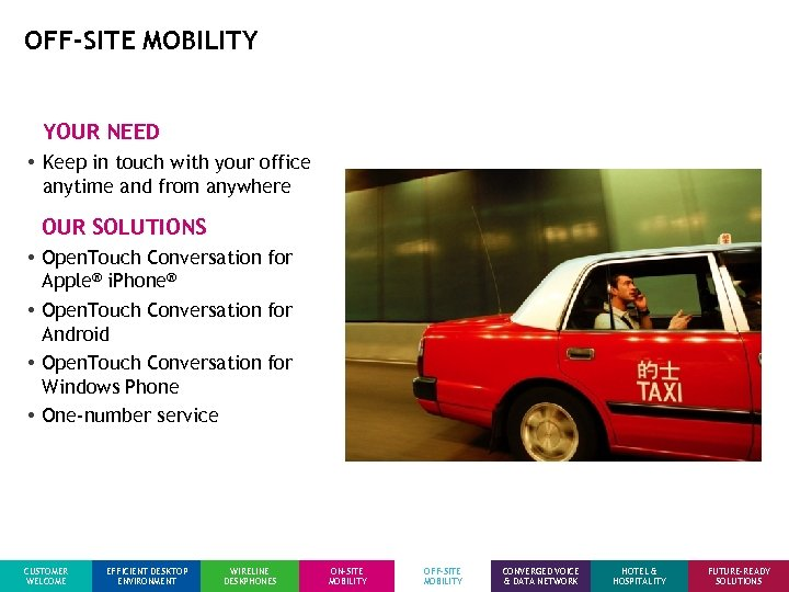 OFF-SITE MOBILITY YOUR NEED • Keep in touch with your office anytime and from