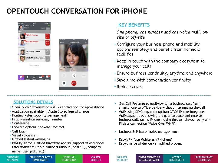 OPENTOUCH CONVERSATION FOR i. PHONE KEY BENEFITS One phone, one number and one voice