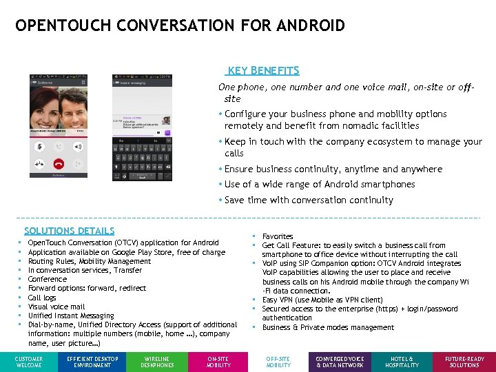 OPENTOUCH CONVERSATION FOR ANDROID KEY BENEFITS One phone, one number and one voice mail,