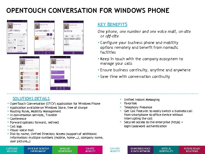 OPENTOUCH CONVERSATION FOR WINDOWS PHONE KEY BENEFITS One phone, one number and one voice