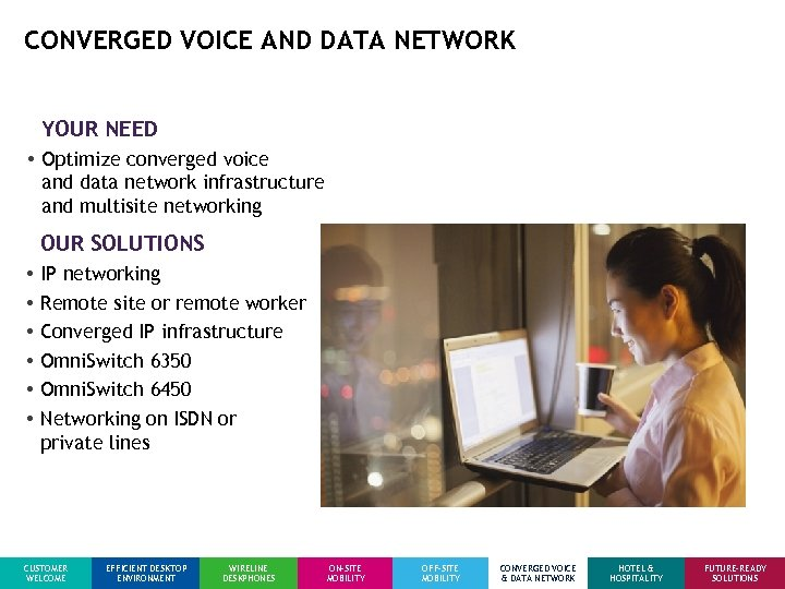 CONVERGED VOICE AND DATA NETWORK YOUR NEED • Optimize converged voice and data network