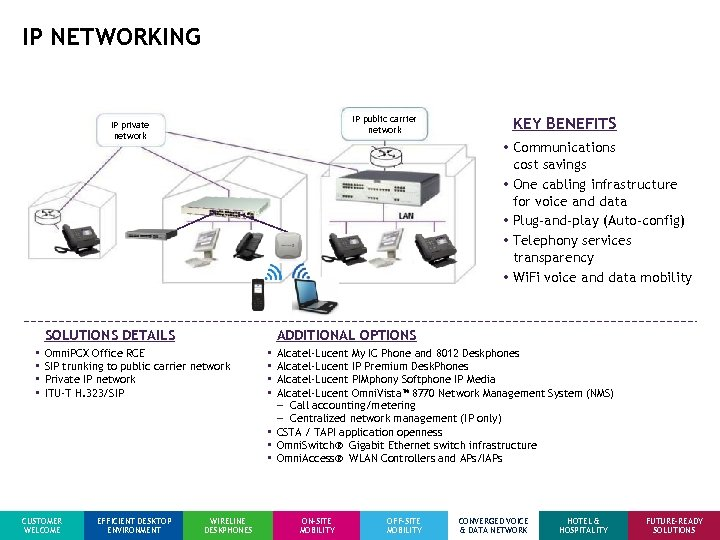 IP NETWORKING IP public carrier network IP private network • Communications cost savings •