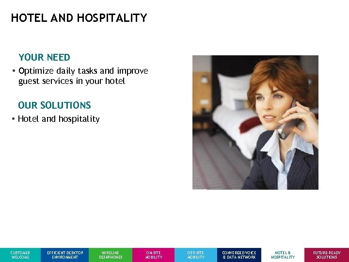 HOTEL AND HOSPITALITY YOUR NEED • Optimize daily tasks and improve guest services in