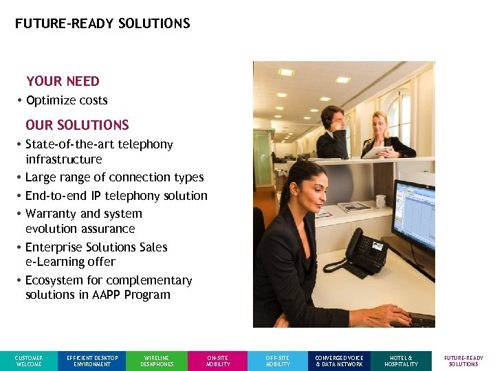 FUTURE-READY SOLUTIONS YOUR NEED • Optimize costs OUR SOLUTIONS • State-of-the-art telephony infrastructure •