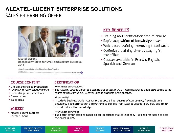 ALCATEL-LUCENT ENTERPRISE SOLUTIONS SALES E-LEARNING OFFER KEY BENEFITS • Training and certification free of