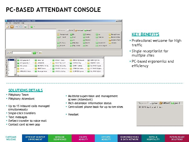 PC-BASED ATTENDANT CONSOLE KEY BENEFITS • Professional welcome for high traffic • Single receptionist