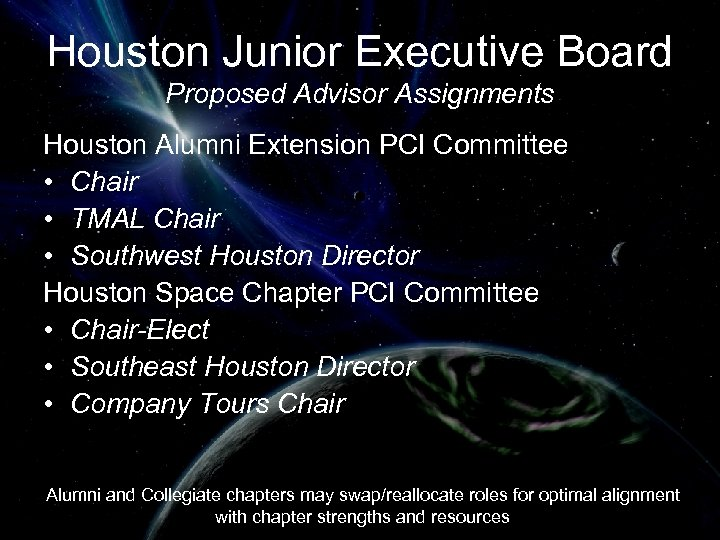 Houston Junior Executive Board Proposed Advisor Assignments Houston Alumni Extension PCI Committee • Chair