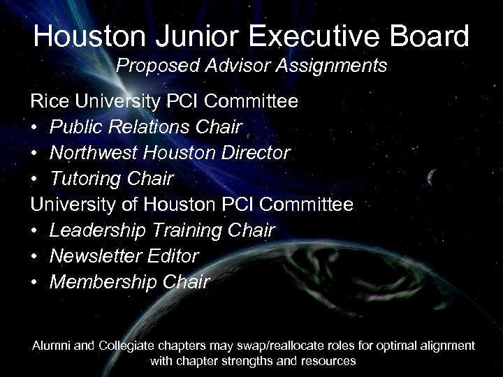 Houston Junior Executive Board Proposed Advisor Assignments Rice University PCI Committee • Public Relations