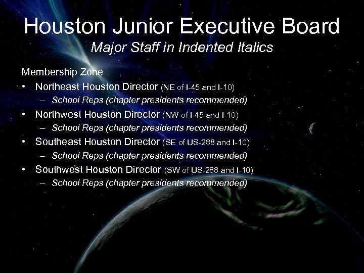 Houston Junior Executive Board Major Staff in Indented Italics Membership Zone • Northeast Houston