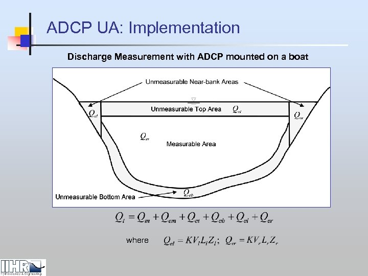 ADCP UA: Implementation Discharge Measurement with ADCP mounted on a boat where