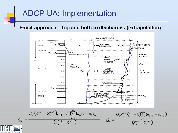 ADCP UA: Implementation Exact approach – top and bottom discharges (extrapolation)