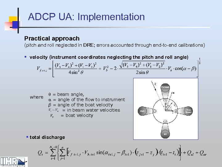 ADCP UA: Implementation Practical approach (pitch and roll neglected in DRE; errors accounted through
