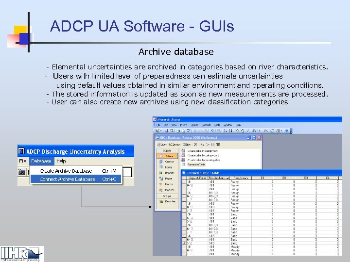 ADCP UA Software - GUIs Archive database - Elemental uncertainties are archived in categories