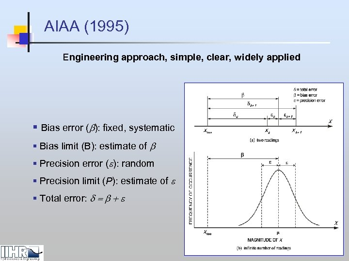 AIAA (1995) Engineering approach, simple, clear, widely applied § Bias error (b): fixed, systematic