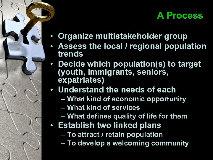 A Process • Organize multistakeholder group • Assess the local / regional population trends