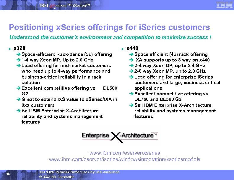 IBM server™ i. Series™ ® Positioning x. Series offerings for i. Series customers Understand